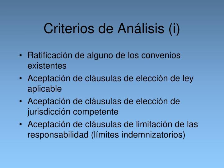 Criterios de Análisis (i)