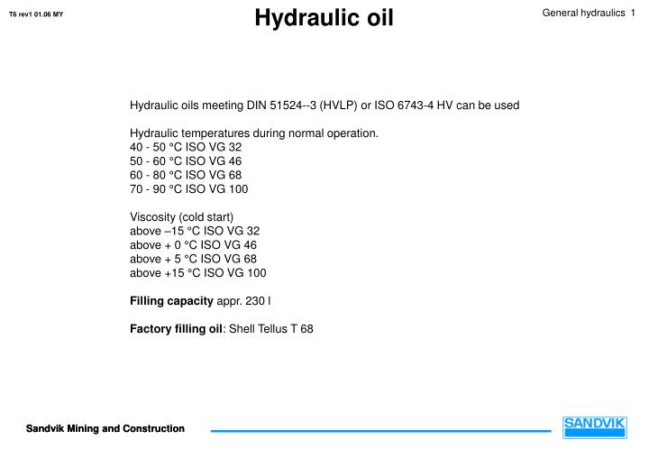 PPT - Hydraulic oil PowerPoint Presentation - ID:3649939