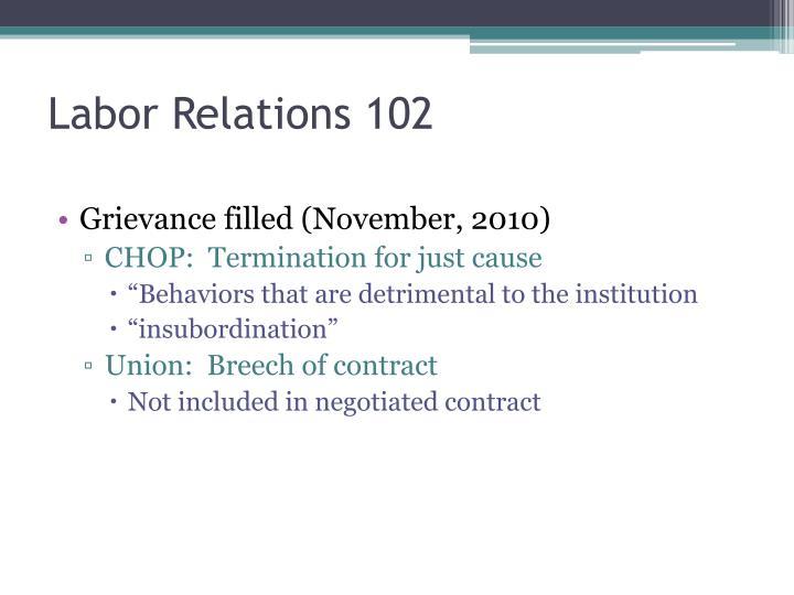 Labor Relations 102
