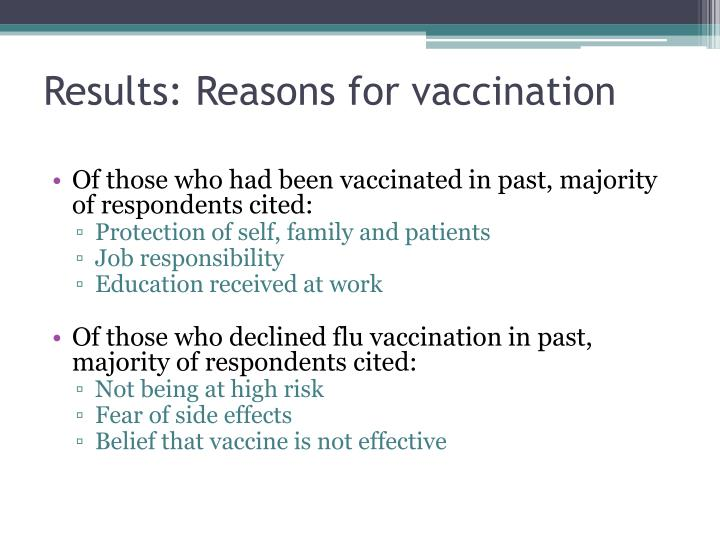 Results: Reasons for vaccination