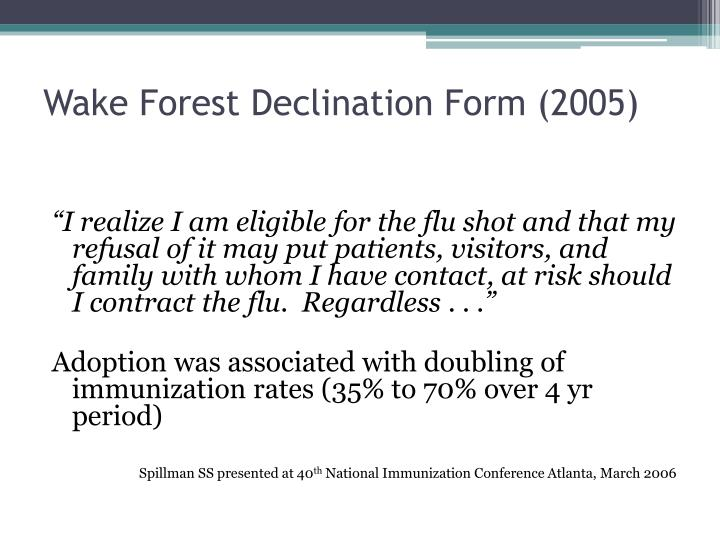 Wake Forest Declination Form (2005)