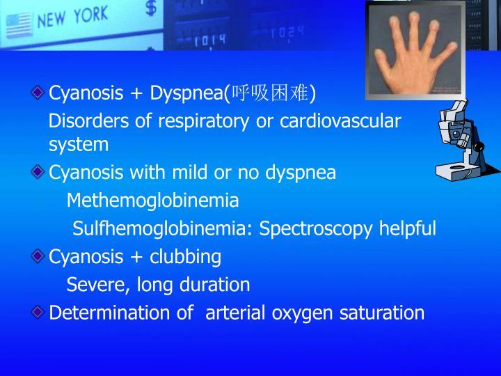 Cyanosis + Dyspnea(