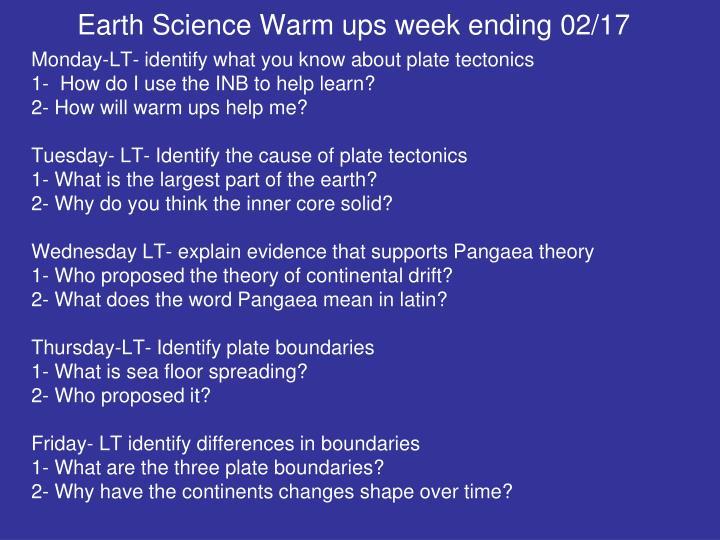 Earth Science Warm ups week ending 02/17