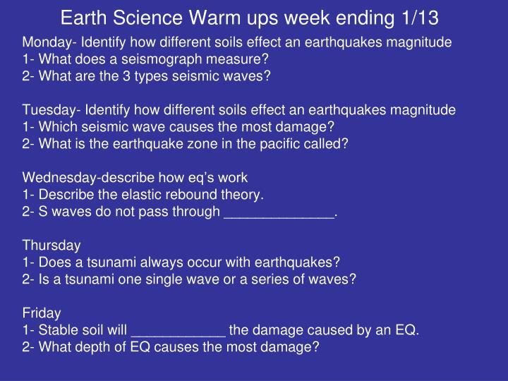 Earth Science Warm ups week ending 1/13