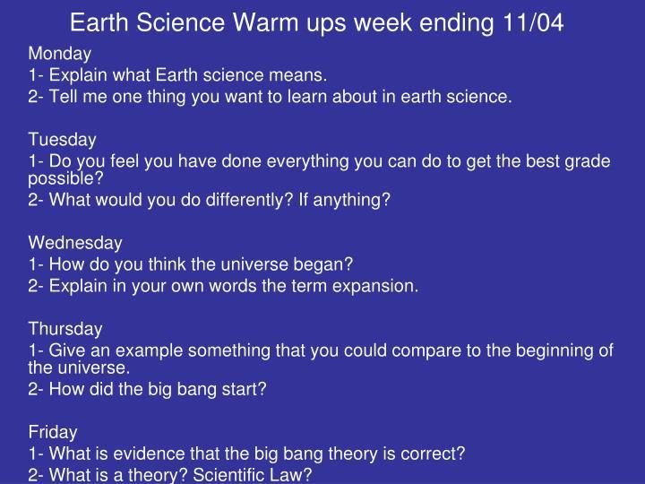 Earth Science Warm ups week ending 11/04