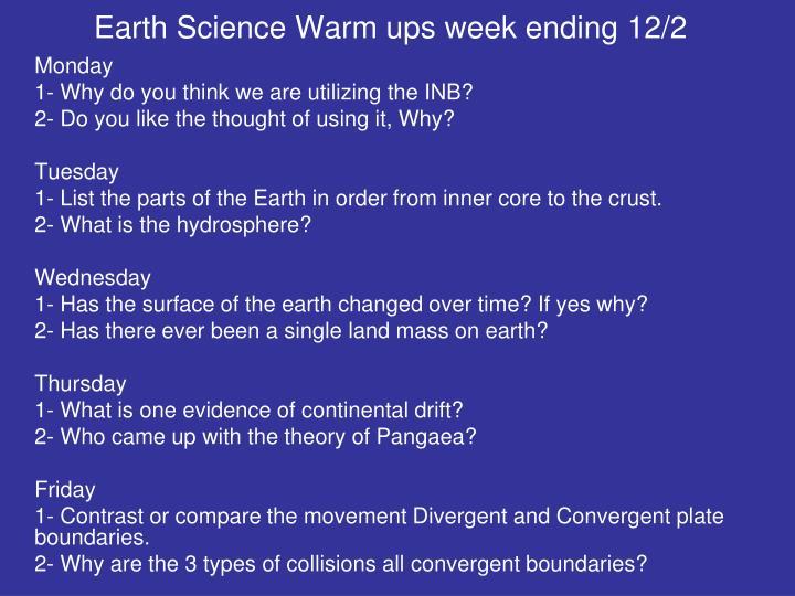 Earth Science Warm ups week ending 12/2