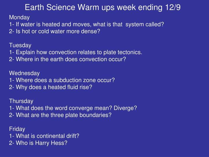 Earth Science Warm ups week ending 12/9