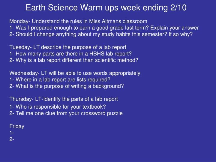 Earth Science Warm ups week ending 2/10