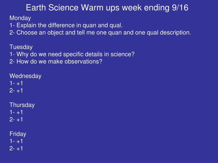 Earth Science Warm ups week ending 9/16