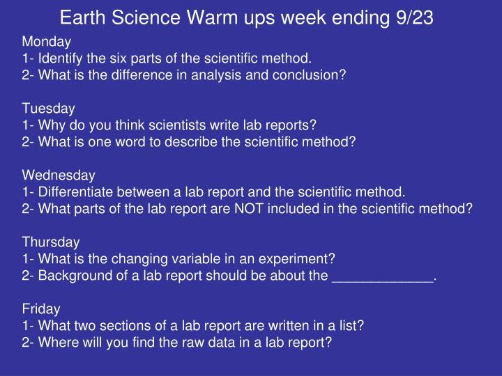 Earth Science Warm ups week ending 9/23