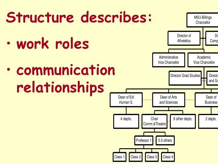 Structure describes: