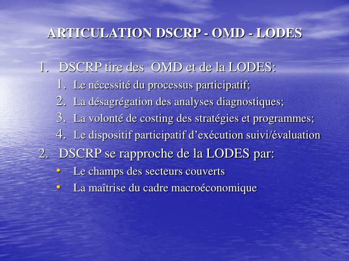 ARTICULATION DSCRP - OMD - LODES