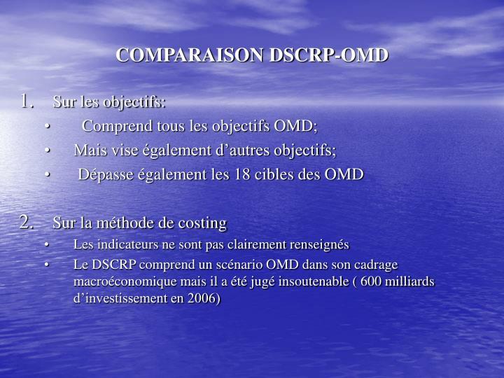 COMPARAISON DSCRP-OMD