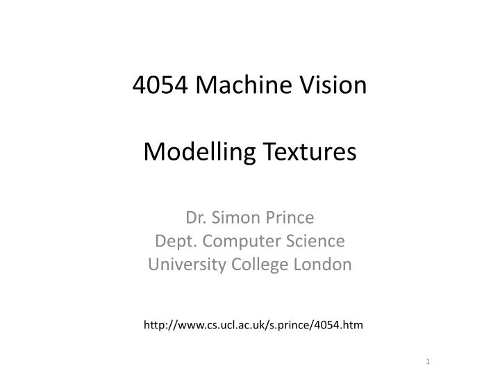4054 machine vision modelling textures n.