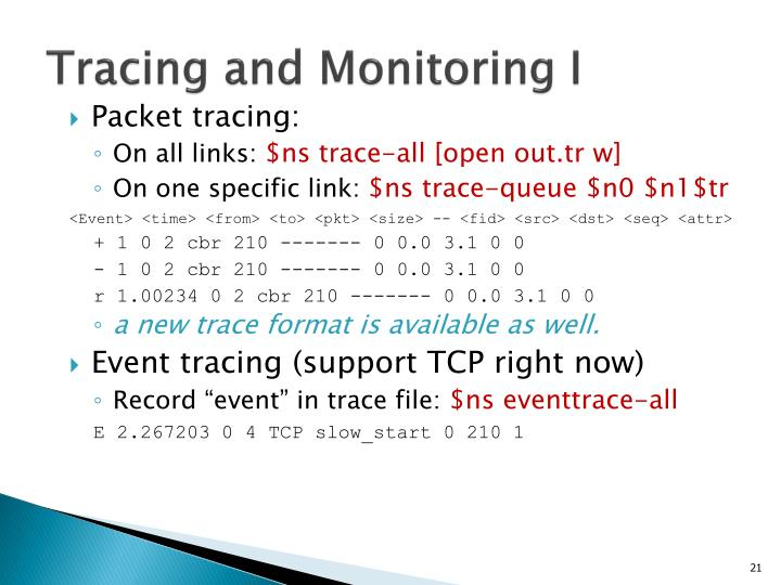 Tracing and Monitoring I