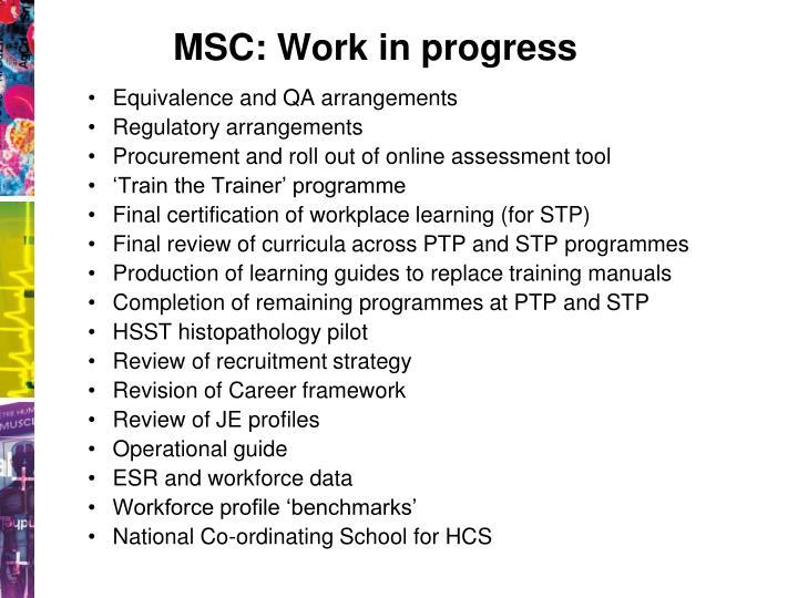 MSC: Work in progress