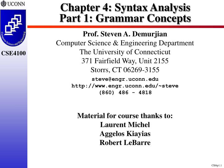 Chapter 4 syntax analysis part 1 grammar concepts