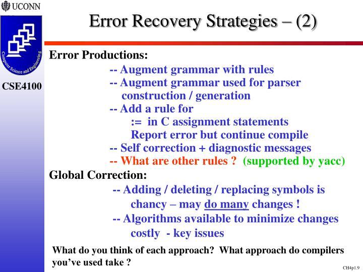 Error Recovery Strategies – (2)