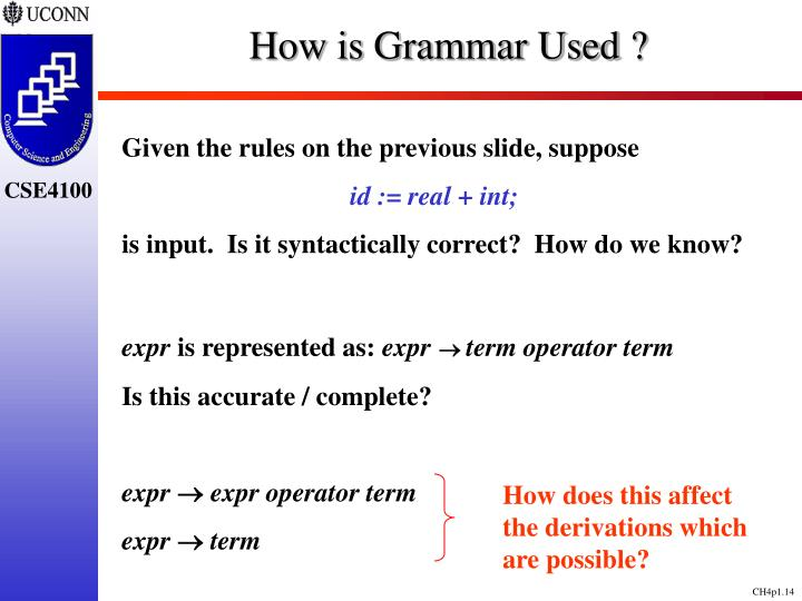 How is Grammar Used ?
