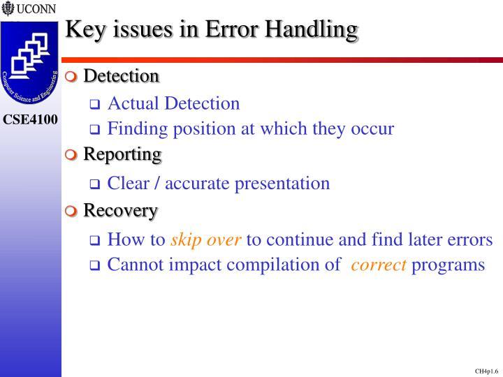 Key issues in Error Handling