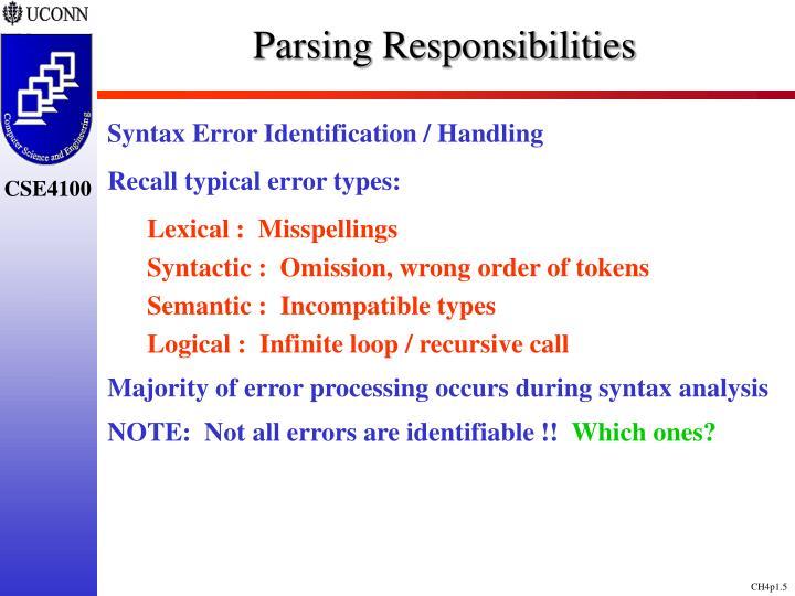 Parsing Responsibilities