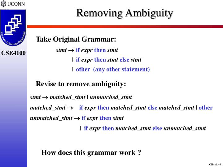 Removing Ambiguity