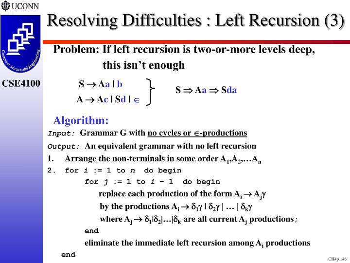 Resolving Difficulties : Left Recursion (3)