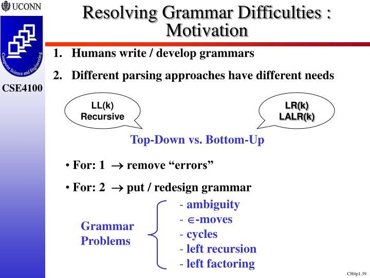 Resolving Grammar Difficulties : Motivation