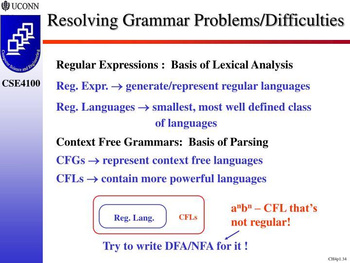 Resolving Grammar Problems/Difficulties