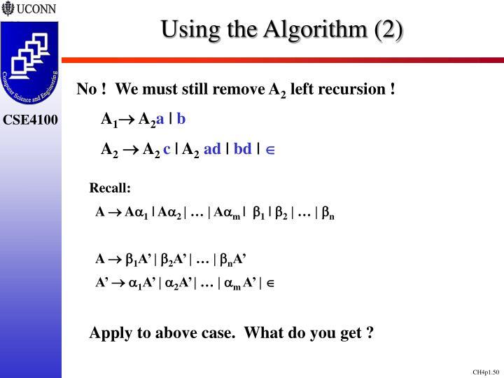 Using the Algorithm (2)