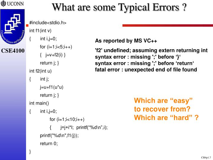 What are some Typical Errors ?