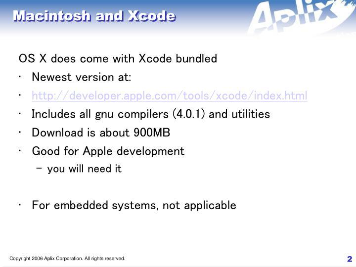 Macintosh and xcode