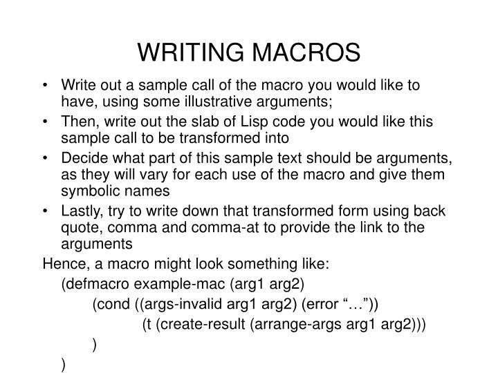 WRITING MACROS