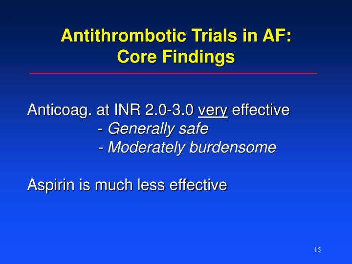 Antithrombotic Trials in AF: Core Findings