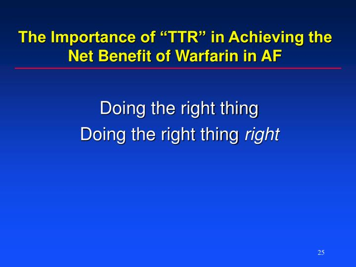 "The Importance of ""TTR"" in Achieving the Net Benefit of Warfarin in AF"