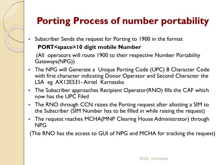 Porting process of number portability1