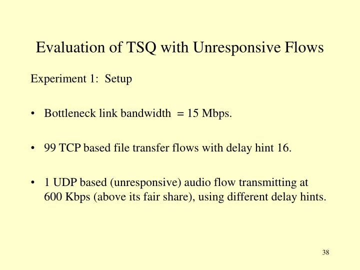 Evaluation of TSQ with Unresponsive Flows