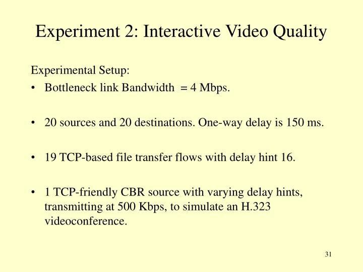 Experiment 2: Interactive Video Quality