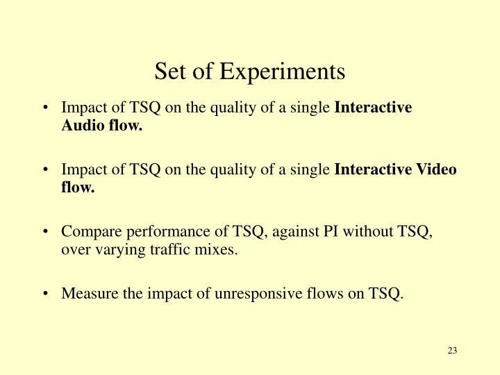 Set of Experiments