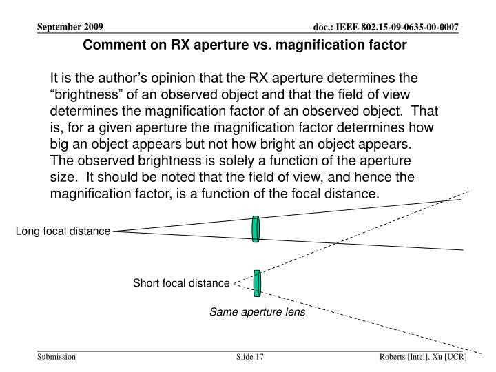 Comment on RX aperture vs. magnification factor