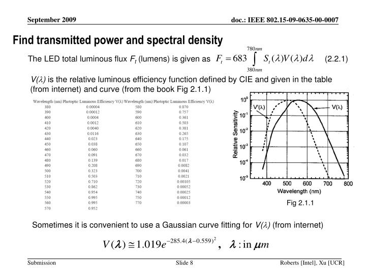 Find transmitted power and spectral density