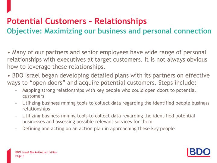 Potential Customers – Relationships