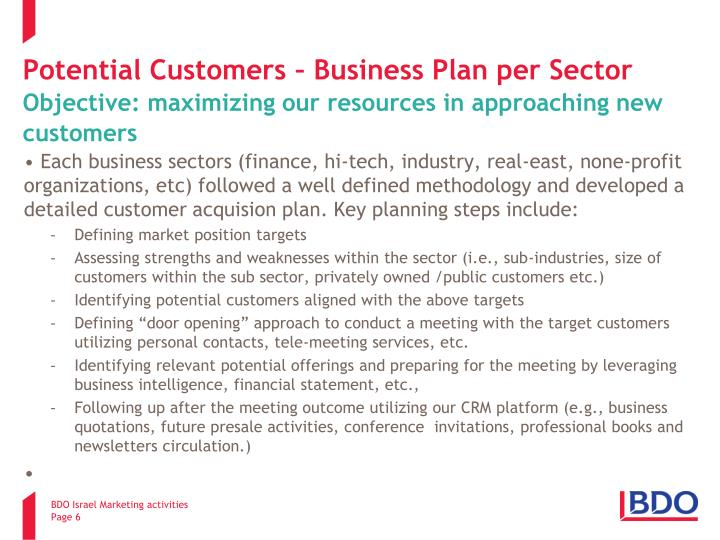 Potential Customers – Business Plan per Sector