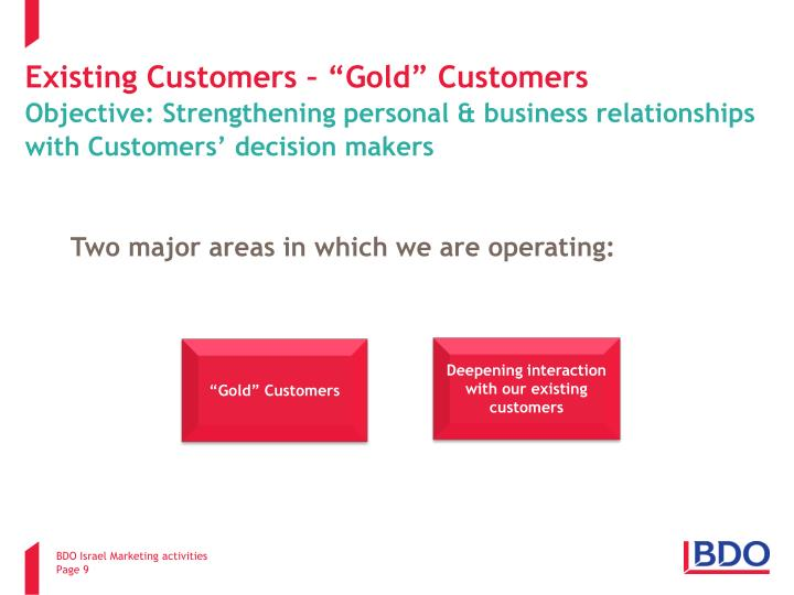 """Existing Customers – """"Gold"""" Customers"""