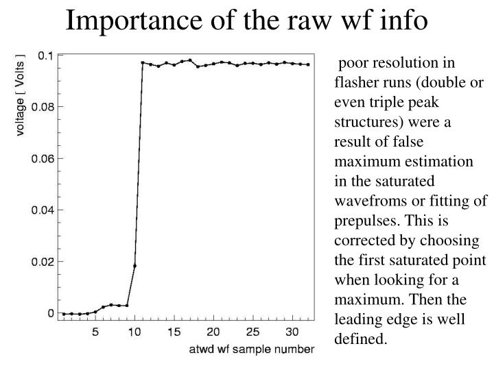 Importance of the raw wf info
