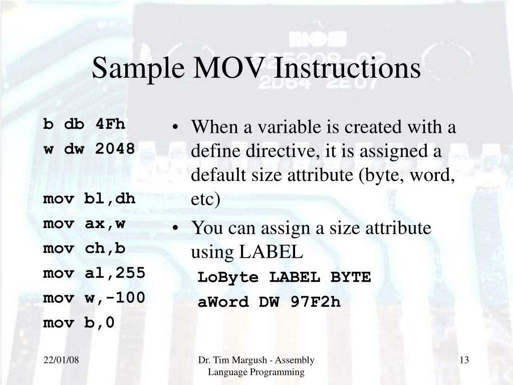 Beaches] 8086 assembly language mov