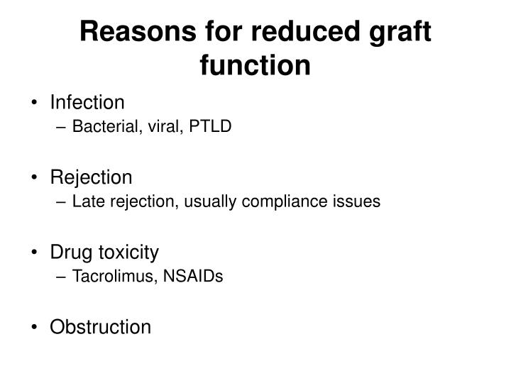 Reasons for reduced graft function