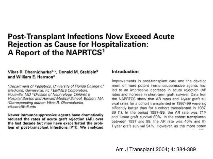 Am J Transplant 2004; 4: 384-389