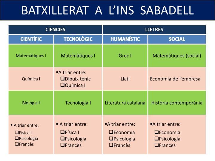 BATXILLERAT  A  L'INS  SABADELL
