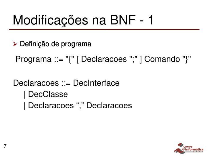 Modificações na BNF - 1